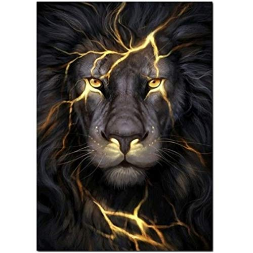 Lion Picture Hanging - Leezeshaw 5D DIY Diamond Painting by Number Kits Fameless Rhinestone Embroidery Paintings Pictures for Home Decor - Lion (11.8x15.7inch/30x40cm)