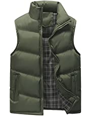 XFentech Men's Winter Waterproof Sleeveless Down Vest Windproof Down Puffer Jacket Coat Zipper Stand Collar Outwear