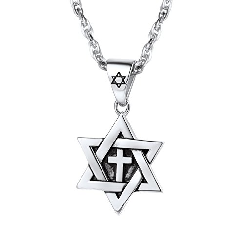 Jewelry Star Jewish (PROSTEEL Magen Star of David Necklace Stainless Steel Pendant & Chain Men Women Bat Mitzvah Gift Jewish Israel Judaica Hebrew Jewelry Hanukkah Cross)