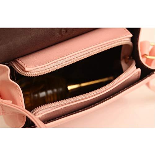 Pink Cuero de Bolso Bolso de del Borla de PU del Caramelo de Color Las la 14x15x9cm la Pink Mujeres H5aqz5