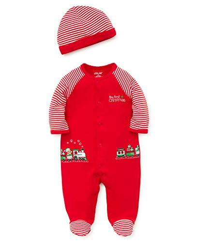 Little Me Baby Boys Footie and Hat, Train Christmas red/White Newborn