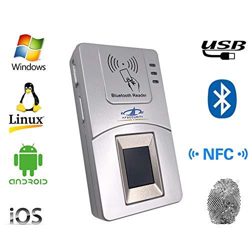 HFSECURITY Lector de Huella Dactilar Bluetooth de Sensor Grande para iOS Windows Lector de Tarjeta NFC andorid Linux para SIM...