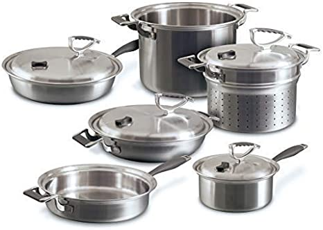 Amazon Com Cookcraft Stainless Steel 3 Ply Bonded Cookware Set 10 Piece Silver Clad Aluminum Core With Vented Latch Lid Kitchen Dining