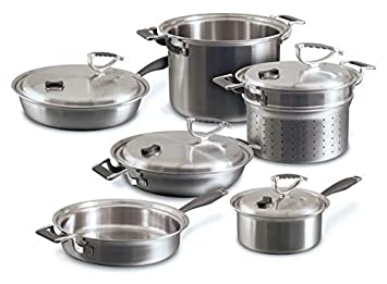 CookCraft Stainless Steel 3-Ply Bonded Cookware Set, 10-Piece, Silver Clad Aluminum Core with Vented Latch Lid