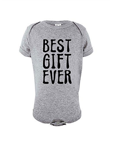 (Best Gift Ever Funny Baby Girl Boy Unisex One Piece Infant Novelty Bodysuit | Holiday Christmas Bodysuit | Heather Grey | 6-12 Months)