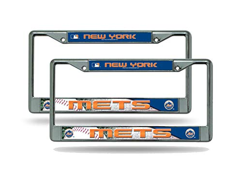 (Rico New York Mets MLB (Set of 2) Chrome Metal License Plate Frames)