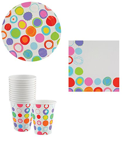 Matching Birthday Paper Plates, Napkins and Cups (Modern Dots) (Happy Dots Apricot)