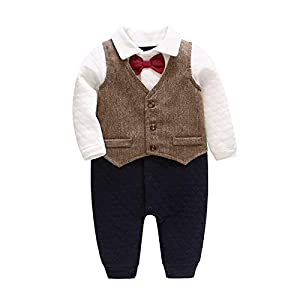 Baby Boys Rompers + Gilet Gentleman Jumpsuit Cotton Long Sleeve Autumn Winter Onesies Bodysuit Formal Outfits Costume…