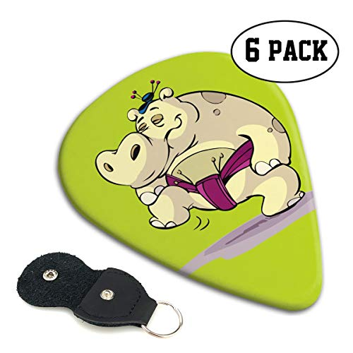 LXXTK Unique Hippo As A Big Sumo Wrestler Celluloid Guitar Pick 6 Pack - Music Gifts for Bass, Electric & Acoustic Guitars]()