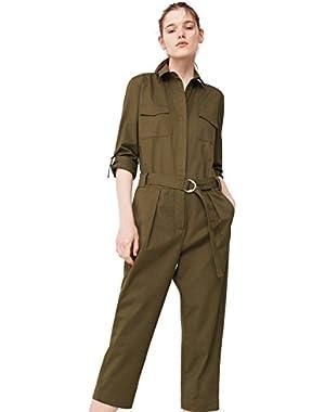 Mango Women's Cropped Cotton Jumpsuit