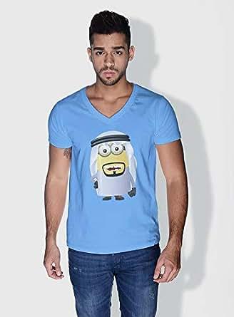 Creo Saudi Arabia Minions Vshape Neck T-Shirt For Men - Blue, S