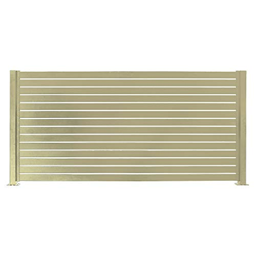 """Stratco Aluminum Slat Fencing Kit (Beige) 94"""" x 71"""" Horizontal Privacy Fence Low Maintenance and Long Lasting"""