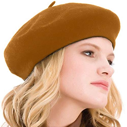 Kimming Womens Beret 100% Wool French Beret Solid Color Beanie Cap Hat (Camel)]()