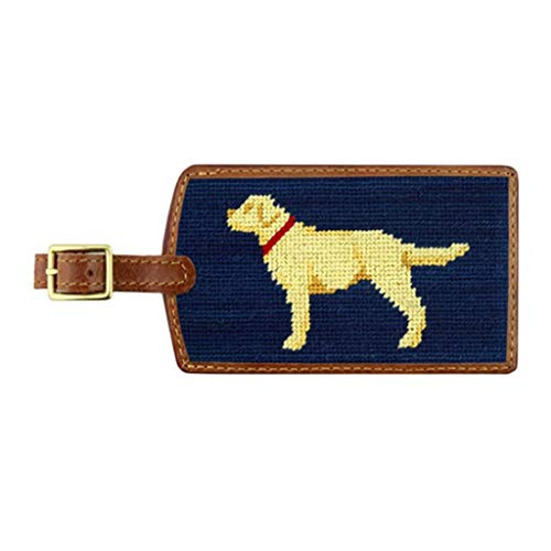 (Yellow Lab Needlepoint Luggage Tag in Classic Navy by Smathers & Branson)