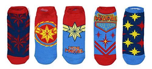 Marvel Captain Marvel Costume 5 Pack Ankle Socks Size 4-10 -