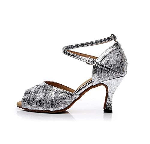con con Fatti Sandali Donna 7 7 ZHRUI Moda Black 5cm Salsa Latino da Black a Colore alla 7 Heel Latina 8 UK Mano Danza Sintetica Heel Dimensione da 5cm 6I6vwdq