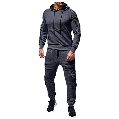 Men's Autumn Print Zipper Sweatshirt Hooded Top Pants Sets Sports Suit Tracksuit Dark Gray