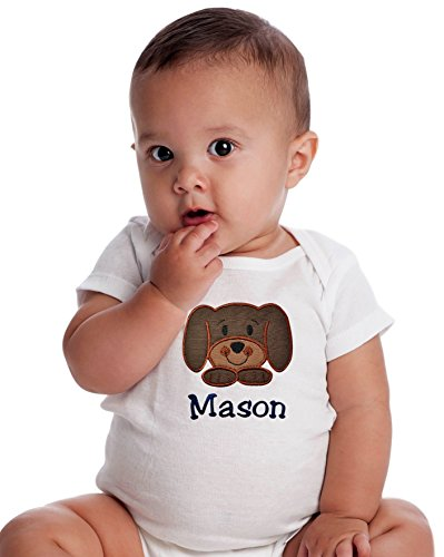 Personalized Embroidered Puppy Onesie Bodysuit for Baby Boys - Your Custom Name! (0-3 Months, Brown (Character Adult Onesie)
