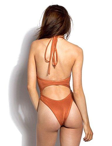 Monokini Trajes de Baño de Una Pieza Para Natacion Bikini Push Up Vestidos de Baños Bañadores Brasileños Terciopelo Mujer Trikini Bikinis Deportivos Traje Ropa de Baño Para Señoras Swimwear Naranja