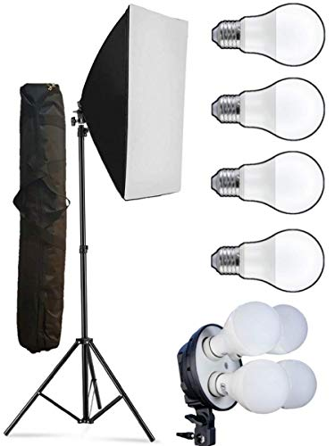 VIBLITZ® PRO Quadlux Mark I Soft Led Still & Video Light Softbox Single Kit with AC Power, YouTube Shooting, Videography, Portrait, Product Photography, Fluorescent Soft Box Studio Interview Equipment