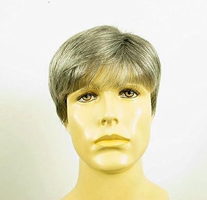 Peluca hombre corto de cabello 100% natural gris mecha blanca FRED 44