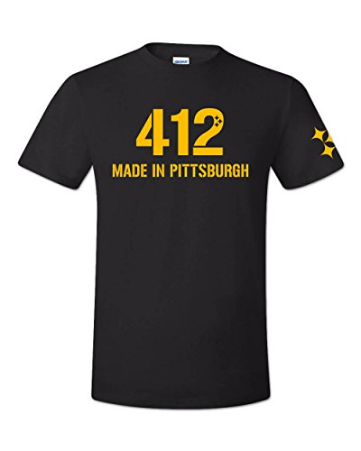 (Zepp Tees 412 Made in Pittsburgh T-Shirt Black and Gold The Burgh)