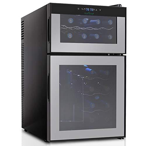 - NutriChef 24 Bottle Dual Zone Thermoelectric Wine Cooler - Red and White Wine Chiller - Countertop Wine Cellar - Freestanding Refrigerator with LCD Display Digital Touch Controls