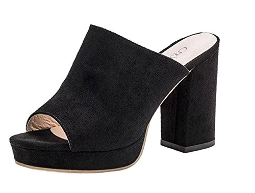 Shoes Heels Flop Summer Flip Wedges Slipper High Woman Fur Black FGHHRYT Fish Mouth Platform Shoes Sandals Square Xx4SEqEP7w