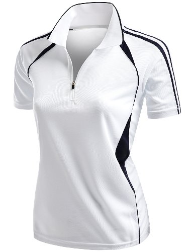Coolmax 2 Tone Collar Zipup Polo T-Shirt White M