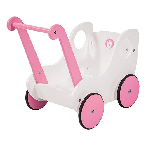 Wooden Walker Doll's Pram, White/Soft Pink ()