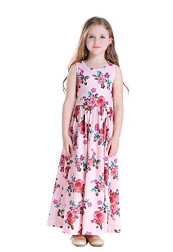 Happy Rose Girls Floral Dress Girls' Fit and Flare Maxi Dress Sleeveless Holiday Long Dress Size Pink Flower Size 8 ()