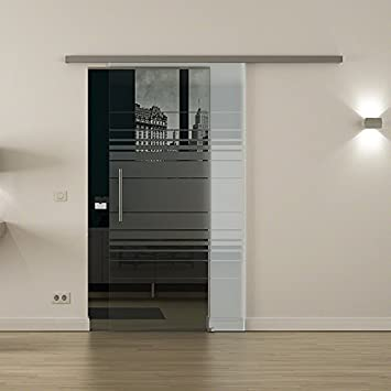 Cristal de Puerta Corredera para interiores con sistema de cierre de ancho levidor® Cristal: 775 mm Altura: 2050 mm – Cristal: Leche Cristal con Horizont de diseño (H) con mango de Barra,