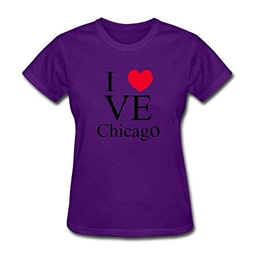 BOTORO Women's I Love Chicago Logo T-shirt Purple Large
