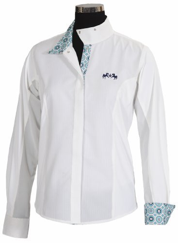 Equine Couture Women's Kelsey Long Sleeve Show Shirt, White/Aqua, 36