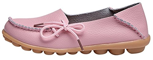 Fangsto Women's Soft Cowhide Leather Loafer Flat Shoes Slip-Ons Sty-1 Pink
