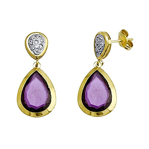 Boucled'oreille à long centre de la pierre violette 18k teardrop or [AA5348]