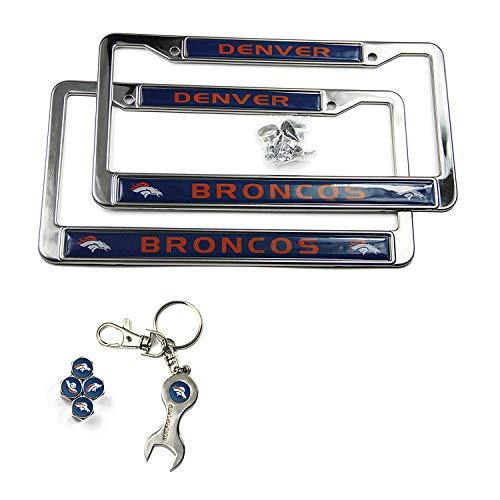 (MT-Sports Store Football Team Car Licenses Plate Stainless Steel Frames & 4 Pcs Tire Valve Stem Caps (Denver Broncos-1))