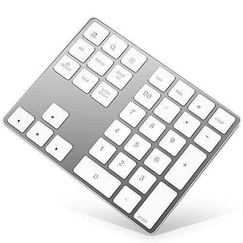 Bluetooth Numeric Keypad, Rechargeable Aluminum 34-Key Number Pad Slim External Numpad Keyboard Data Entry Compatible for MacBook, MacBook Air/Pro, iMac Windows Laptop Surface Pro etc ()