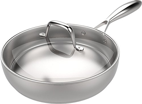 Heavy Duty Stainless Steel Skillet with Glass...