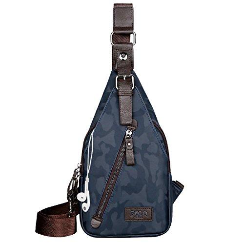 VICUNA POLO Sling Backpack Men Leather Chest Bag Crossbody Shoulder Bag For Men (camouflage blue)