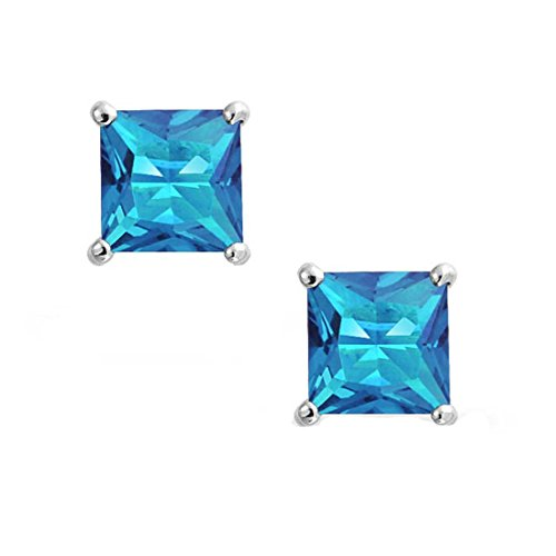 Solitaire Stud Post Earring Princess Cut Simulated Blue Topaz 925 Sterling Silver Blue Topaz Color Solitaire