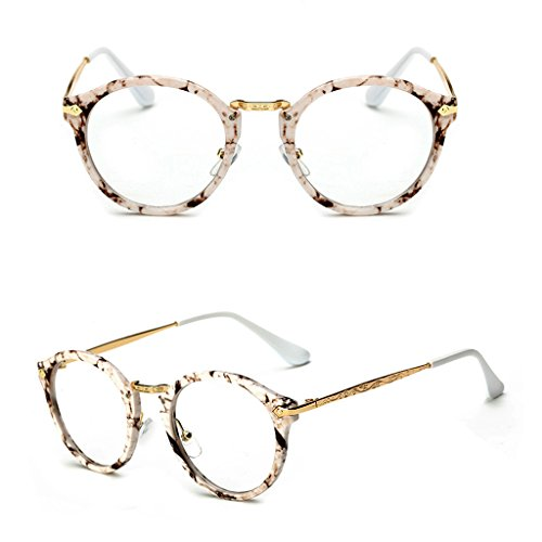 Pink-day Vintage Men Women Eyeglass Round Frame Clear Full Rim Spectacles Eyewear Optical (Stone - Spectacle Frames Gents