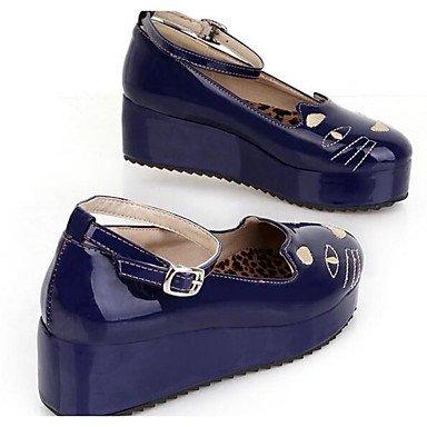 Verano Mujer Casual Charol Confort UK5 Beige 5 5 EU38 CN38 Azul Zapatos RTRY US7 De Primavera Tacones Para Negro Rojo Rq1xX1Ewz