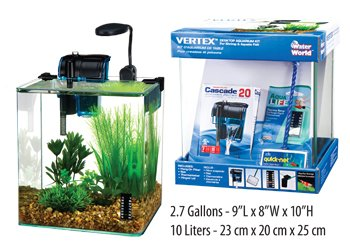 Penn Plax Vertex Aquarium Kit for Fish and Shrimp With Filter, Thermometer, Desktop Size 2.7 Gallon