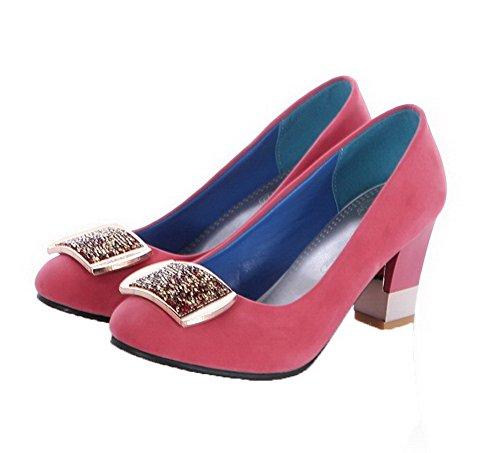 AgooLar Damen Ziehen auf Mattglasbirne Eingelegt Mittler Absatz Pumps Schuhe Pink