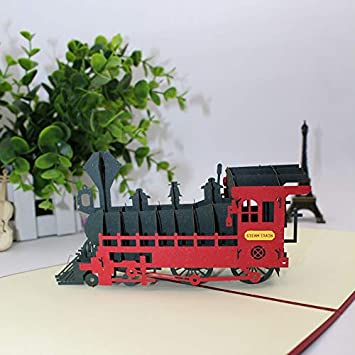 Tarjetas 3D Stereo Lovely Steam Train Tarjetas de ...