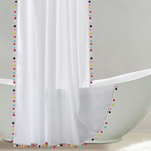 Uphome Shower Curtain, White Fabric Shower Curtain with Colorful Pom Pom Trims, Vintage Boho Chic Cloth Shower Curtains for Bathroom Showers, 72 x 72]()
