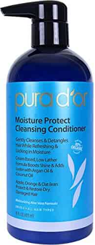 PURA D'OR Moisture Protect Cleansing Conditioner Detangling Co-Wash Treatment, Sulfate Free Gentle Formula Infused with Organic Argan Oil & Natural Ingredients, All Hair Types, Men and Women, 16 Fl Oz