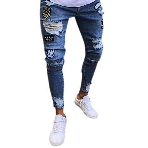 Para Agujeros Ropa look Con Slim Destruido De Fit Moda Vaqueros Blau Usados Hombre Pantalones Mezclilla Calle xqUSIS