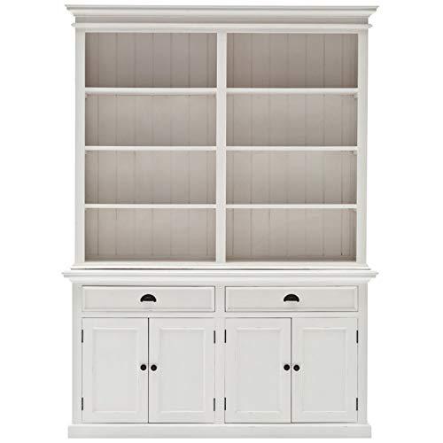 NovaSolo Halifax Pure White Mahogany Wood Hutch Bookcase With Storage And 2 Drawers